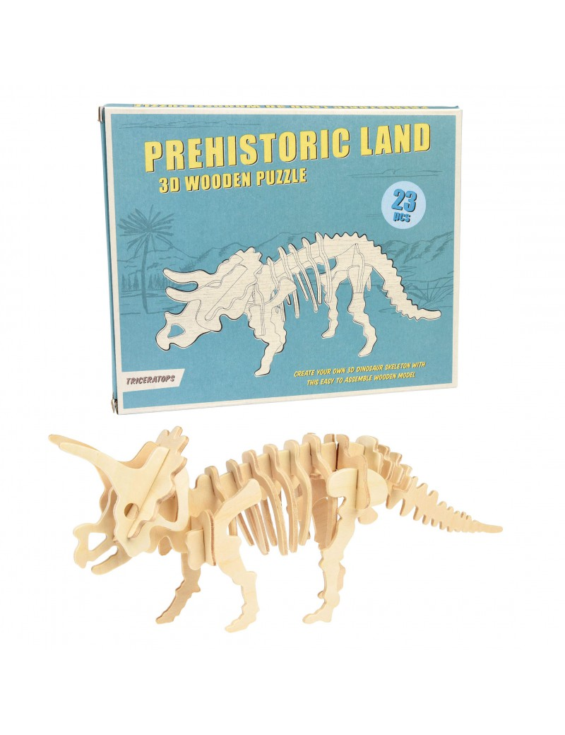 Dino houten 3D puzzel triceratops