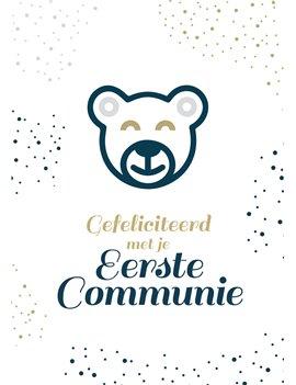 Communiekaartje eerste communie beer