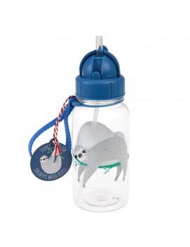 Drinkfles luiaard blauw met rietje
