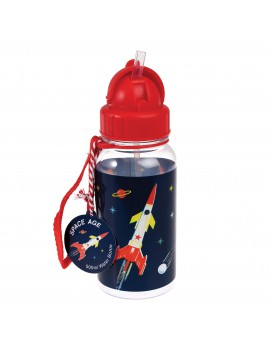 Drinkfles space raket rood