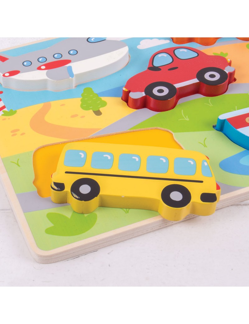 Houten puzzel 3D voertuigen - BigJigs