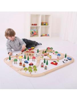 Houten speelset stad en trein - Bigjigs