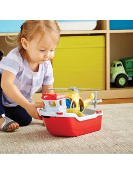 Speelgoed reddingsboot met helicopter - Green Toys
