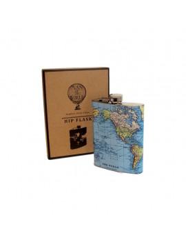 Wereldkaart heupfles