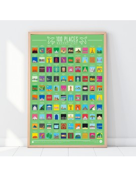 100 Places travel bucket list poster