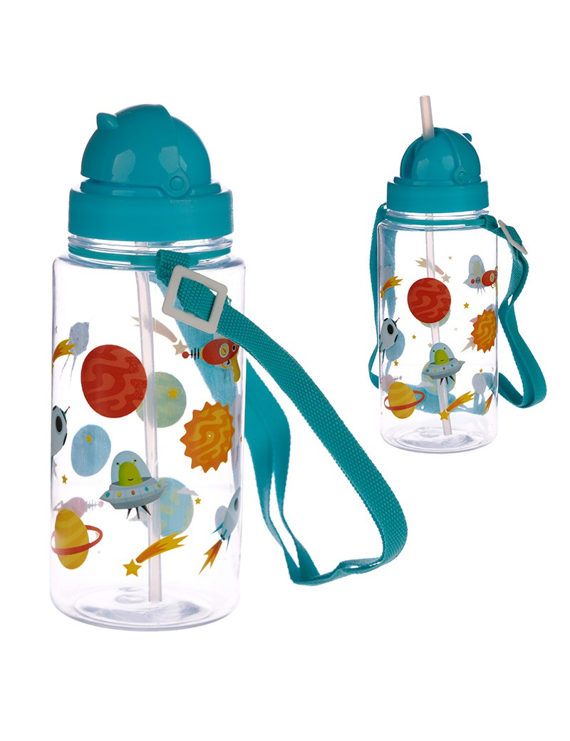 Drinkfles waterfles ruimte met rietje