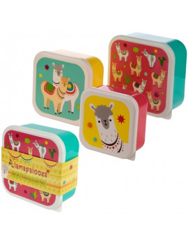 Brooddoos snackdoosjes lama set van 3
