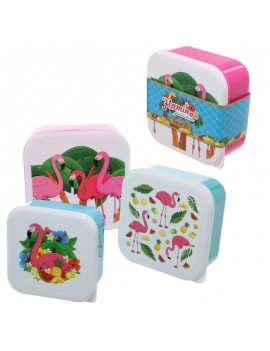Brooddoos snackdoosjes flamingo set van 3