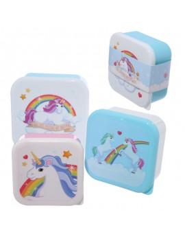 Brooddoos snackdoosjes eenhoorn unicorn set van 3