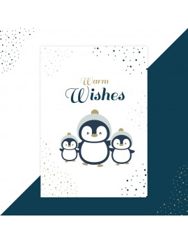 Kerstkaart warm wishes pinguin