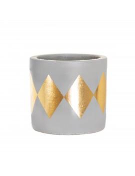 Bloempot cement gouden ruitjes - Sass & Belle