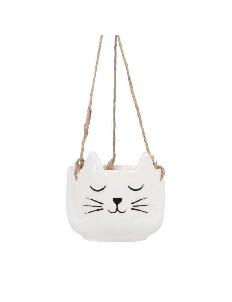 Hangende bloempot kat wit - Sass & Belle