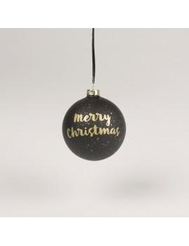Kerstbal merry christmas zwart goud - Sass & Belle