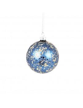 Kerstbal blauw goud - Sass & Belle