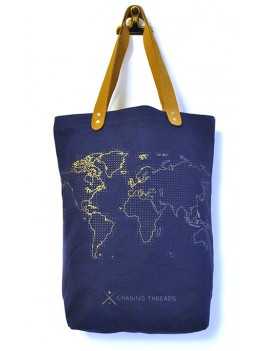 Wereldkaart stitch tote bag
