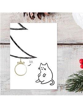 Kerstkaart Kat set van 10 - Lacarta