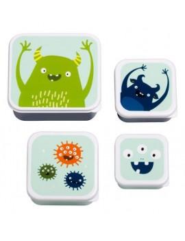 Monster snackdoosjes set van 4 - A Little Lovely Company