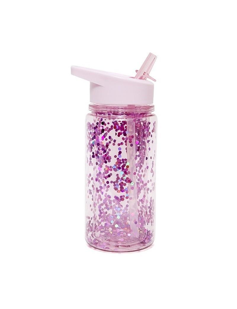 Glitter drinkfles roze - Petit Monkey