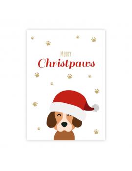 Kerstkaart hond merry christpaws - Lacarta