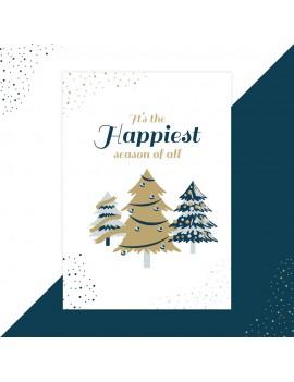 Kerstkaart happiest season set van 10 - Lacarta
