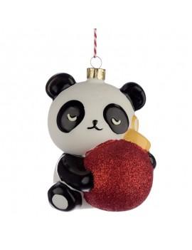 Glazen panda kersthanger decoratie