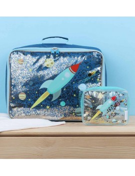Glitter koffer ruimte raket - A Little Lovely Company