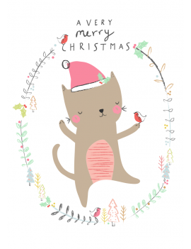 kaart 'Very Merry Christmas Cat'