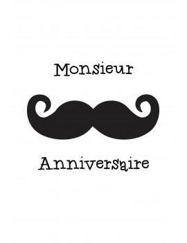 """Pakket van 8: Verjaardagskaart """"Monsieur Anniversaire"""""""