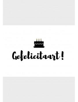 """Pakket van 8: Verjaardagskaart """"Gefelicitaart"""""""