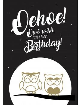 """Pakket van 8: Verjaardagskaart """"Oehoe"""""""