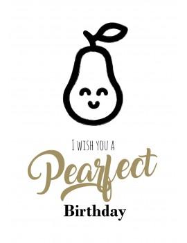 """Pakket van 8: Verjaardagskaart """"pearfect birthday"""""""