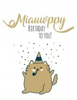 Pakket van 8: Verjaardagskaart kat miauwppy birthday