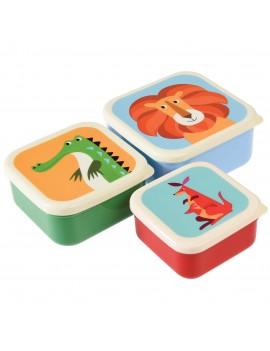 Snackdoosjes wilde dieren set van 3 - Rex London