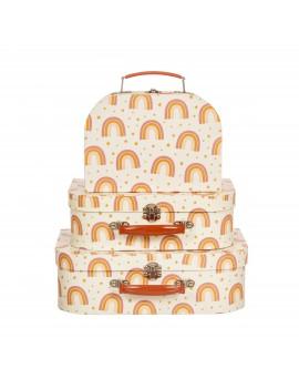 Set van 3 koffertjes regenboog - Sass & Belle