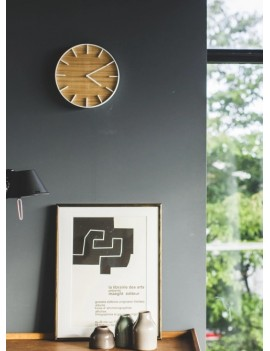Houten klok zonder cijfers wit - Yamazaki
