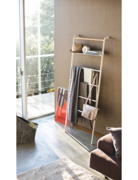 Brede ladder kapstok wit - Yamazaki