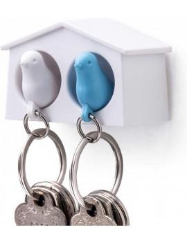 Sleutelhanger vogelhuisje duo blauw - Qualy