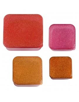 Glitter roze snackdoosjes set van 4 - A Little Lovely Company