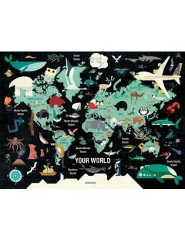 Wereldkaart puzzel - Mudpuppy