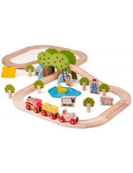 Houten speelgoedtrein boerderij - Green Toys