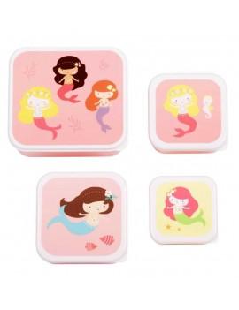Zeemeermin snackdoosjes set van 4 - A Little Lovely Company
