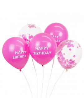 Roze ballonnen Happy Birthday - Talking Tables