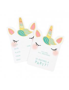 Eenhoorn verjaardagsfeest uitnodigingen - Talking Tables