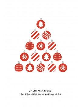 Rode kerstballen kerstkaart set van 8 kerstkaarten met omslagen - Lacarta