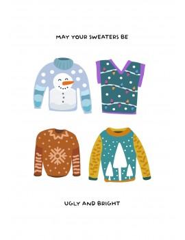 May your sweater be ugly set van 8 kerstkaarten met omslagen - Lacarta