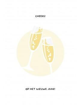 Cheers op het nieuwe jaar kerstkaart set van 10 kerstkaarten met omslagen - Lacarta