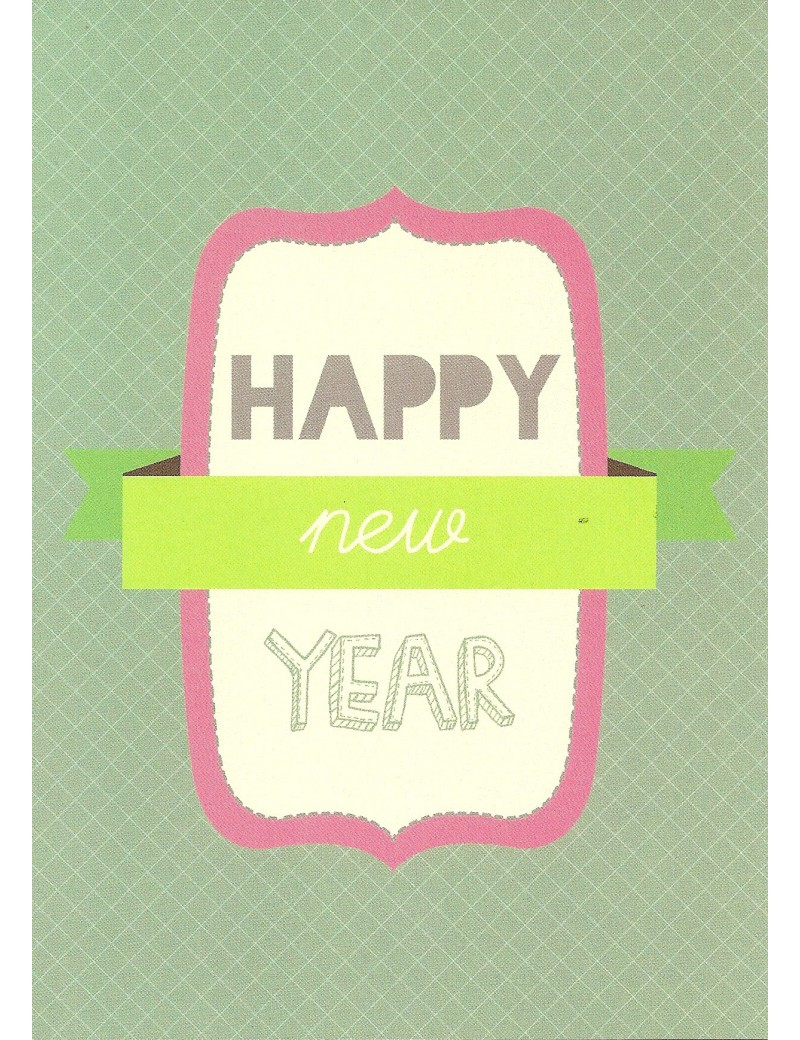 kaart 'Happy New Year (pink-green)'