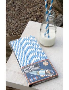 blauw-wit gestreepte karton rietjes