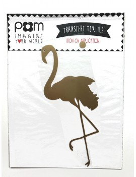 strijkapplicatie 'Flamingo' wit/zwart/goud - Pöm Le Bonhomme