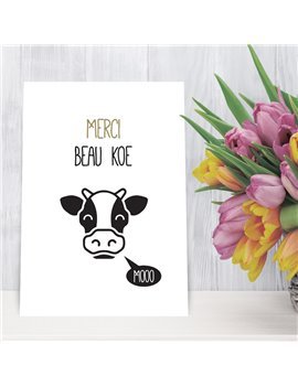 """Bedankingskaart """"Merci Beau Koe"""""""
